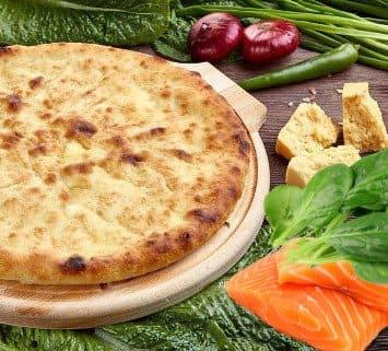 Осетинские пироги c лососем и сыром и шпинатом